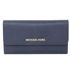 Michael Kors Jet Set LG Tri Fold Wallet Blue